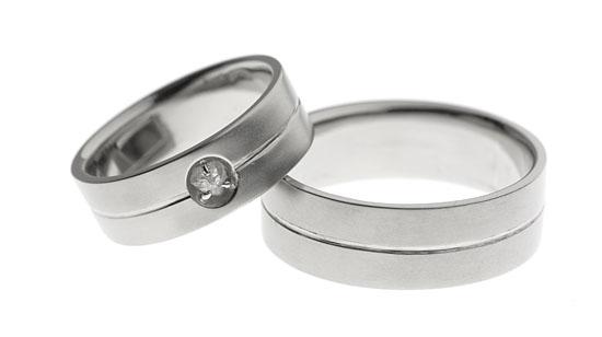 Kidesydän | Valkokulta 750, Kotimainen raakatimantti Kaavilta | Vihkisormukset