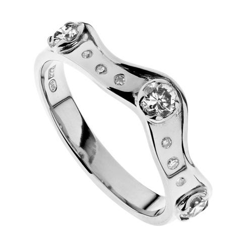Crown | Valkokulta 585, timantit | Sormus
