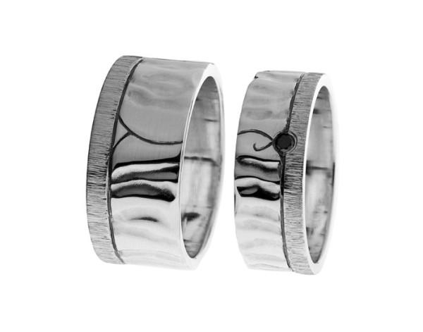 Aallot | Hopea 925, patina, musta timantti | Vihkisormukset