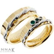 Laineilla | Kulta 585, hopea 925, smaragdit, safiiri | Vihkisormukset